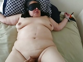 Tied standing and finger fucked My submissive bbw whore tied, fingered and fucked