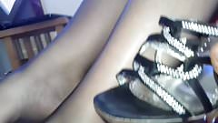 Black pantyhose foot job and massive cum