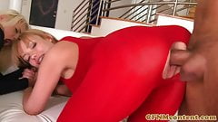 Busty cfnm milfs dominate dick in anal group