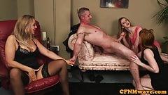 Euro CFNM milf shares her sub husband