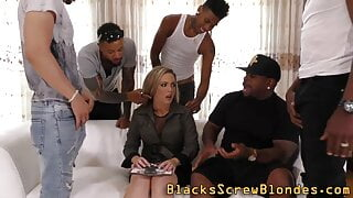 Blonde spermed by bbcs in interracial group sex