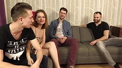 Horny polish porn girl at gangbang with 3 guys