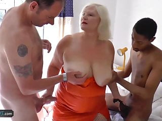 Dry mature skin Agedlove busty mature got two dicks to suck dry