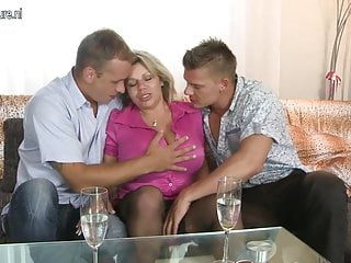 Milf sucks boy - Big breasted mom sucking and fucking two boys