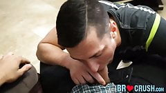 Twink chokes on his stepbrothers hairy cock and he moans