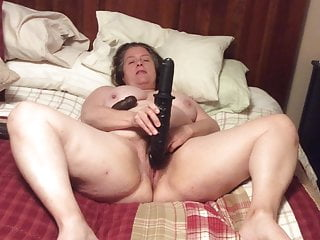 Mom with dildo Bbw mom with hairy pussy cums hard on 3 long black dildos