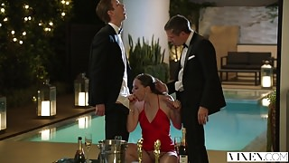 VIXEN Tori Black Takes on Two Cocks In An Award Show After P