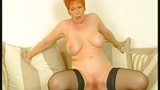 Redhead Granny in Stockings Fucks