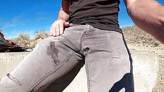 Shooting cum into grey pants in public