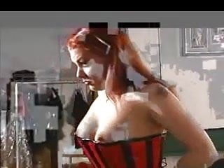Corset pornstars Red head in red corset