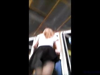 Teen amateur tits tube Teen upskirt on tube and stairs in leather skirt