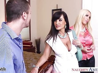 Wives holding dicks - Hot wives lisa ann and nikki benz sharing a big dick