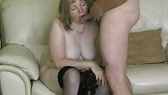BBW amateur MILF mature sucking her husbands cock