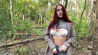 Blowjob in the park from a redhead girl in a coat. KleoModel