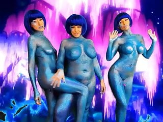 Space aliens sex show - 3 blue alien babes live webcam show