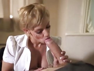 Balbo facial Lou lou sucking monster cock receives massive facial