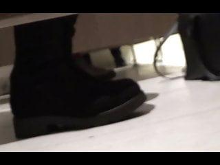 Sucking cock under stall - Hot under-stall toilet spy