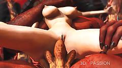 Inferno. Hot sex in hell. Devil fucks young sexy slave hard