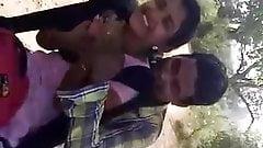 Desi college girl outdoor boobs pressing by boyfriend on bik