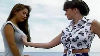 Busty asian lesbian pleasures on sailing yacht