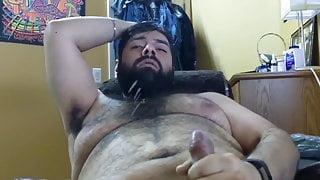 hairy bearded cub shoots his big load