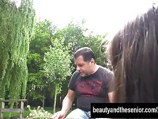 Outside fucking videos - Beauty teen athina gets fucked outside by an old dude