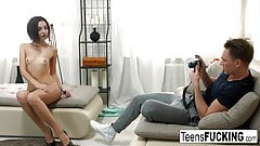 Cute brunette Liona has anal sex on the couch