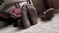 Sexy feet in black nylons hypnotize