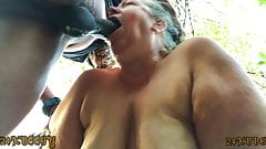 Mature bbw gives deepthroat squirting blowjob in the woods