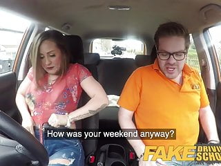 Sucking cock at the drive-in Fake driving school big tits spanish learner loves sucking