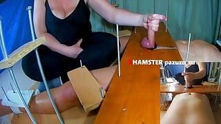 Femdom CFNM Game.20 min Handjob+Post Orgasm+Feet Tickling