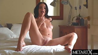 Sexy brunette gets naked and rides her fingers doggy style