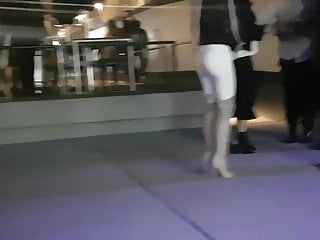 White jeans and pantyhose - Candid ass in white jeans