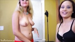 First time lesbian experience for amateur girl on audition
