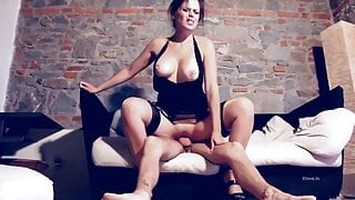 Vittoria D fucked in contrast FF stockings