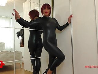 Catsuit sluts German redhead jolynejoy played so dirty in a catsuit