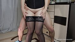 He cums in my panties - Teen Stepsister gives thigh job in stockings