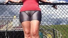 Spandex Angel - Silver spandex public camel toe
