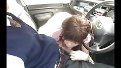 Taxi in-car blowjob, pay by mouth