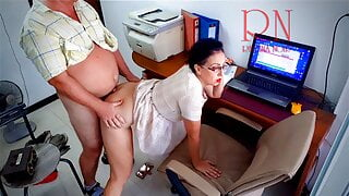 The boss is fucking the secretary woman