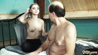 2 young girls suck old man's cock and have super hot sex