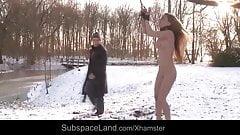 Russian rebel slut harsh tormented outdoor