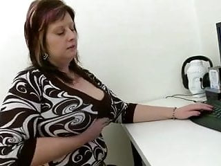 Mom office asshole - Mom playing with her plump cunt at office