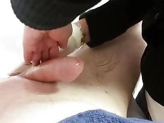Massage dick Asian lady waxing and massaging make dick cum