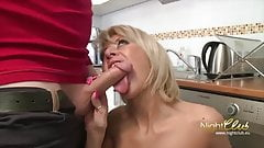 Slim Blond Cougar Gets Anal and Eats Cum