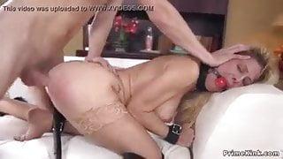 blonde MILF Cherie Deville assfucked in bondage