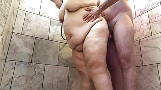 Amateur BBW Couple Takes Sexy Shower - Mature Granny TnD