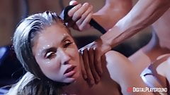 Lena Paul get fucked by two dudes on club