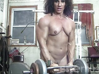 Spanking my naked buttocks - Naked female bodybuilder kiss my naked muscles