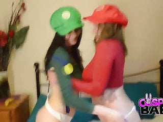 Video of sister lesbian Cosplay babes big tits not mario sisters doing some plumbing